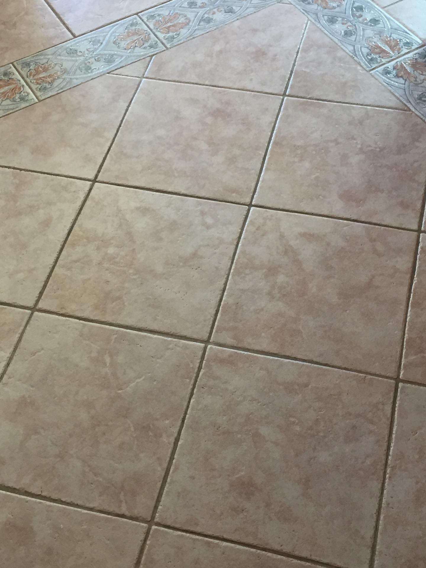 Before we cleaned tile and grout.